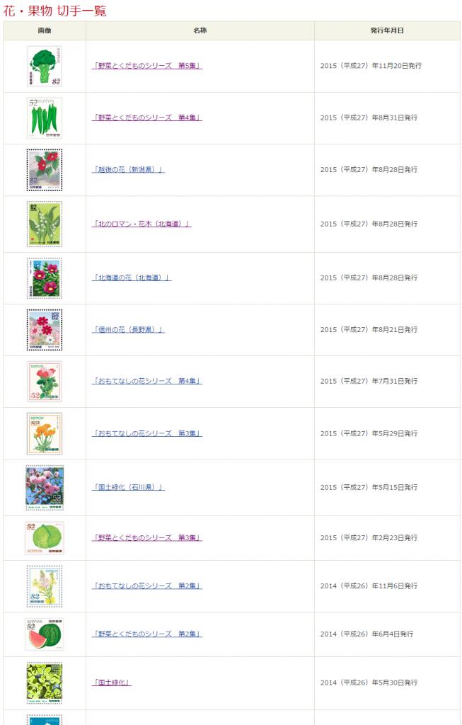 花・果物 切手一覧 日本郵便